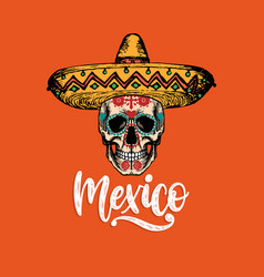 mexico hand lettering calligraphy with vector image