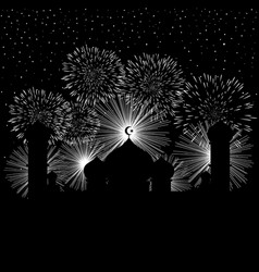 Mosque and fireworks background vector