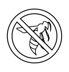 No wasp sign icon outline style vector