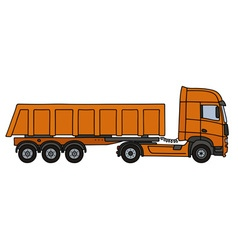 Orange tipper semitrailer vector image