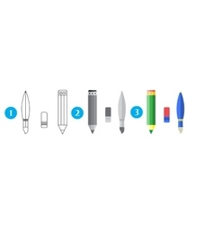 Paint and writing tools collection - pencileraser vector