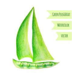 pea ship watercolor green peas hand drawn vector image