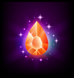 pear orange shining gemstone with magical glow and vector image
