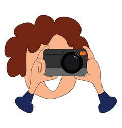 Photographer clicking photos or color vector