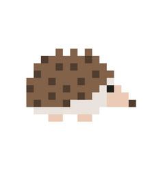 pixel style brown hedgehog 8-bit vector image