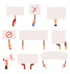 Protesters banners hands holding blank pannels vector