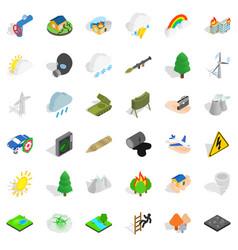 rainbow icons set isometric style vector image