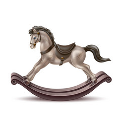 realistic rocking horse vintage 3d toy vector image