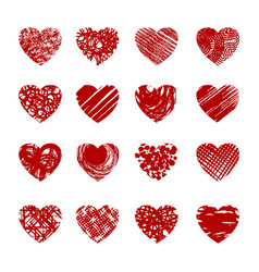 red sketch hearts vector image