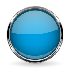 Round blue button with chrome frame vector