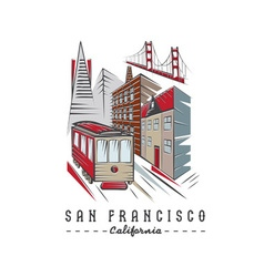 San Francisco Golden gate bridge buildings and vector image