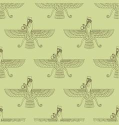 Seamless pattern with ancient symbol faravahar vector
