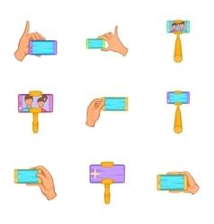 Selfie icons set cartoon style vector