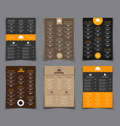 set a4 menu for restaurants and cafes templates vector image