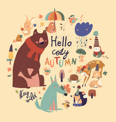 set cute animals with autumn elements hello vector image