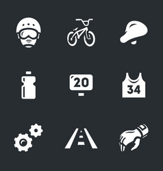set of cycling icons vector image