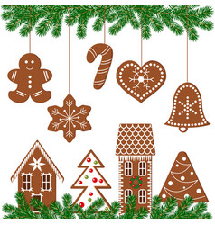 Set of decorated gingerbread figures vector