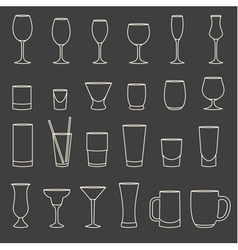 Set of linear drinkware on grey background vector
