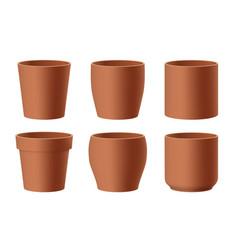 Set realistic brown ceramic flower pots vector