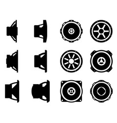 Set speaker drivers car audio silhouette icon vector