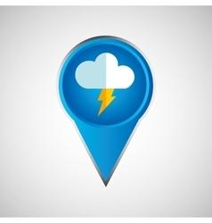 signal weather cloud lightning pin design vector image