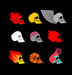 skull set emblem head of skeleton and fire logo vector image