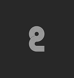 Small letter q logo sleek thin parallel lines vector