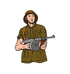 Soldier with Thompson Gun vector