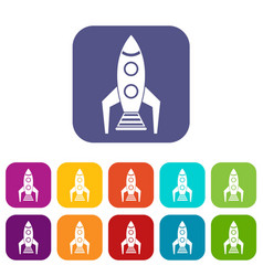 Space rocket icons set vector