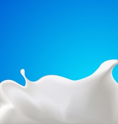 Splash of milk or yogurt - with blue background vector