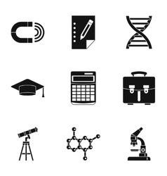 Study icons set simple style vector