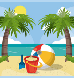 Summer beach vacations bucket sand ball shovel vector