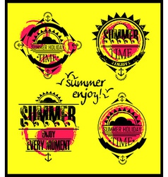 Summer emblem icons vector