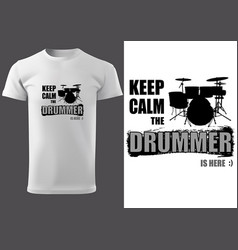 T-shirt with drums silhouette vector