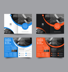 Template of two bifold brochures with round vector