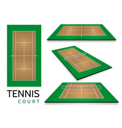 tennis court top view and different perspective vector image