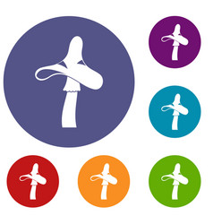 toxic mushroom icons set vector image