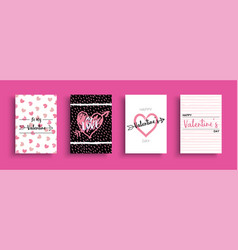 valentines day love quote greeting card set vector image