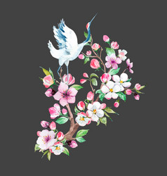 Watercolor crane with flowers composition vector