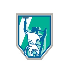 Window Cleaner Worker Shield Retro vector image