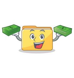 With money folder character cartoon style vector
