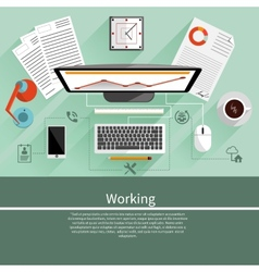 Working place witn equipment vector