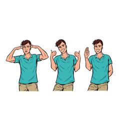 young man gestures set vector image