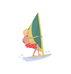 Young man windsurfing in the sea marine sport vector