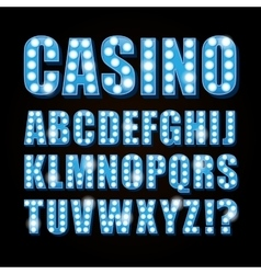 blue neon lamp letters font show casino or vector image