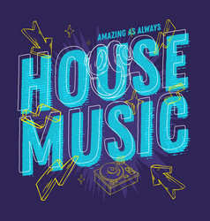 house music 90s influenced typographic design with vector image vector image
