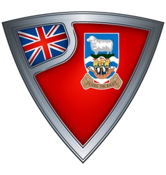 steel shield with flag falkland islands vector image vector image