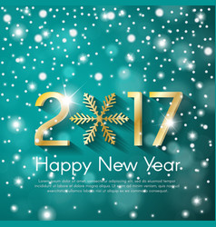 Golden new year 2017 concept on turquoise snow vector