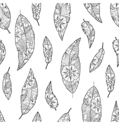 Seamless pattern of bird feathers with ornament vector image vector image