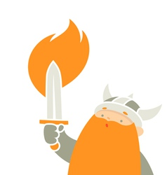 viking holding sword vector image vector image